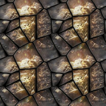 dewy: Seamless 3d relief pattern of dewy stones with water drops Stock Photo