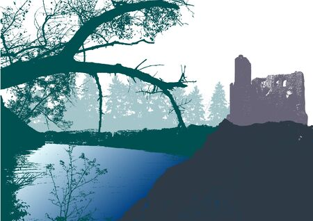 panoramic landscape: Panoramic landscape with castle, river and silhouettes of trees