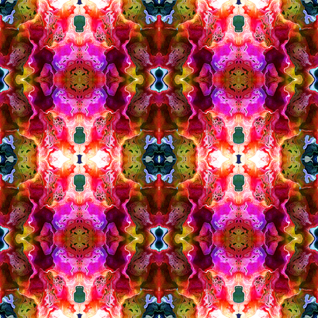 layered: Abstract seamless pattern with pink, red and green layered stylized exotic flowers Stock Photo