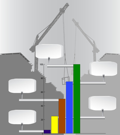 Infographics column chart template with industry background and cranes
