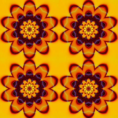 bstract: bstract seamless pattern with red, orange, brown and yellow stylized flowers