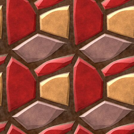 road paving: Seamless relief pavement pattern of red, beige and yellow stones Stock Photo