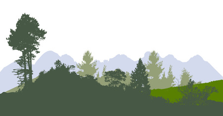 nature vector: Mountain panoramic landscape with silhouettes of trees and plants