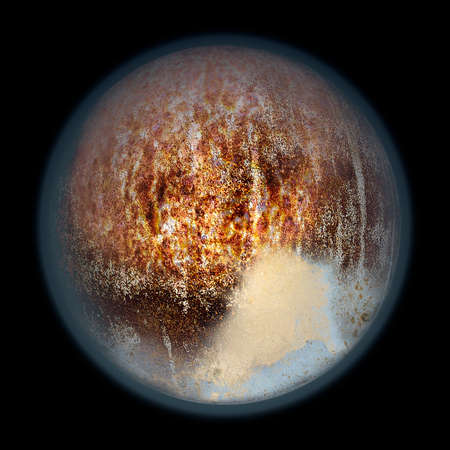 haze: Abstract planet with reddish haze and structure resembling Pluto