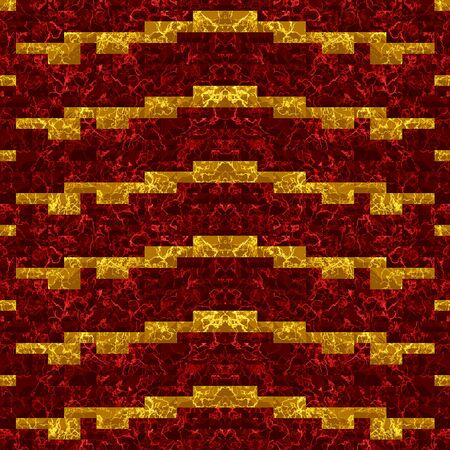road paving: Abstract seamless red and gold pattern of marble tiles with veined structure