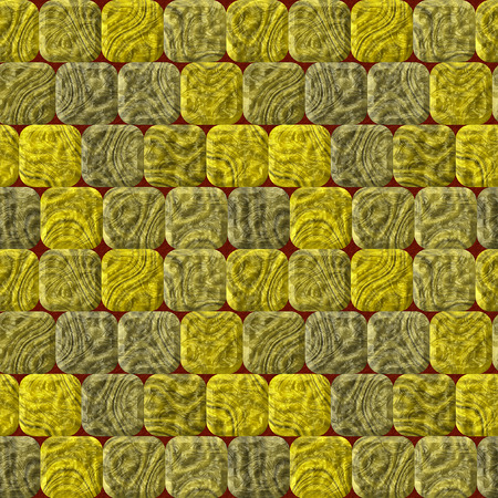 road paving: Seamless pavement relief pattern of gold and gray tiles on a red background Stock Photo