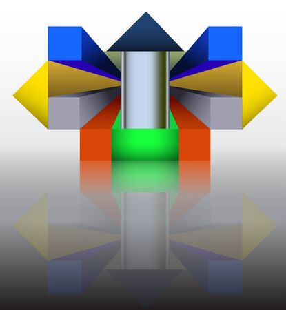 spacial: Abstract template construction of spacial geometrical objects reminiscent of modern architecture Illustration
