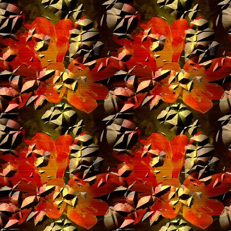 Seamless cracked metal pattern with exotic flowers