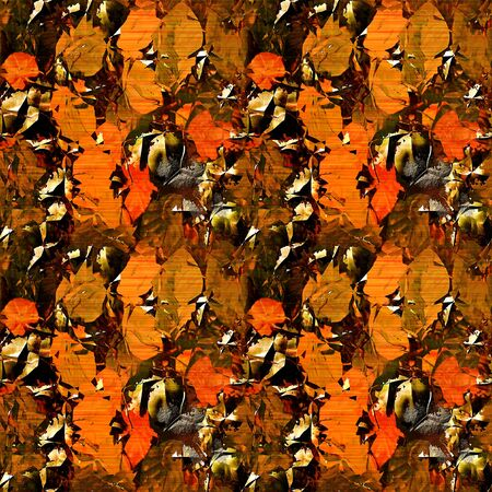 Blurred seamless pattern with autumn leaves on a gold and black metal background Stock Photo