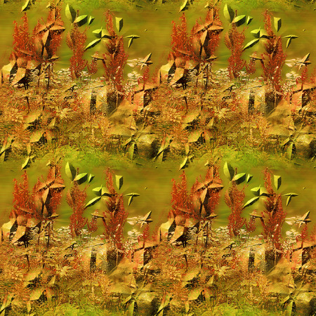 Seamless pattern with red and grass on grunge rusty metal background