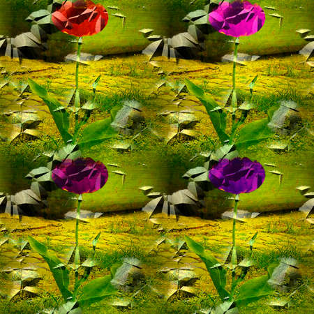 rough: Seamless pattern with flowers on cracked and rough metal background