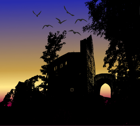 Dark scary halloween landscape with silhouette of castle and birds