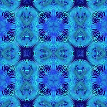vibrate: Abstract seamless pattern of vibrating blue rippling lines resembling a mandala