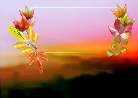 hojas de colores: Oto�o enmascarado paisaje brumoso con hojas de colores, bellotas y el marco