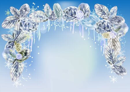 icicles: Winter background with icicles, snowflakes and leaves Illustration