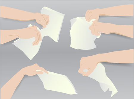 hand torn: Simple template with six hands and blank torn paper notepads Illustration