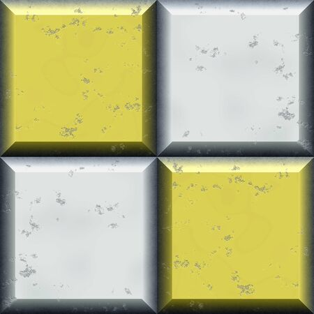 beveled: Seamless relief pattern of silver and gold squares with beveled edges