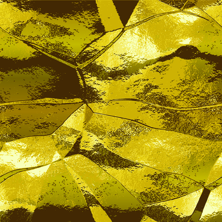 crumpled: Abstract gold background with light reflections resembling crumpled metal foil