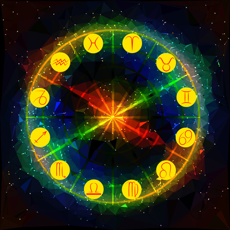 classical mythology character: Abstract background with planetary symbols of the Zodiac