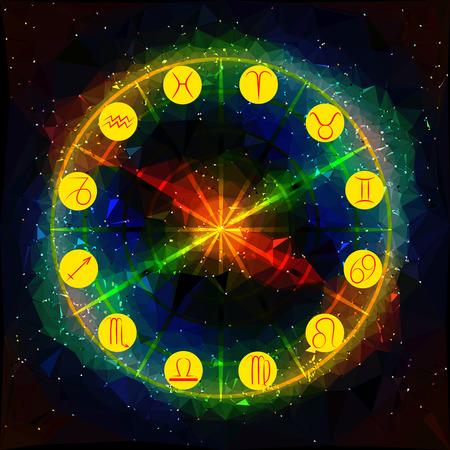 Abstract background with planetary symbols of the Zodiac Vektorové ilustrace
