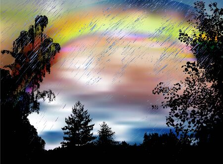 Dark landscape with rainbow, heavy rain and silhouettes of trees