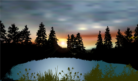 lake sunset: Dark landscape with a mountain lake, silhouettes of trees, plants and sunset
