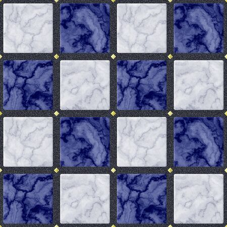 veined: Abstract seamless marbled floor pattern of blue, white and gold squares with veined texture on a black background Stock Photo