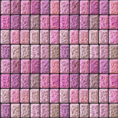 road paving: Seamless pavement relief pattern of pink and beige ceramic tiles