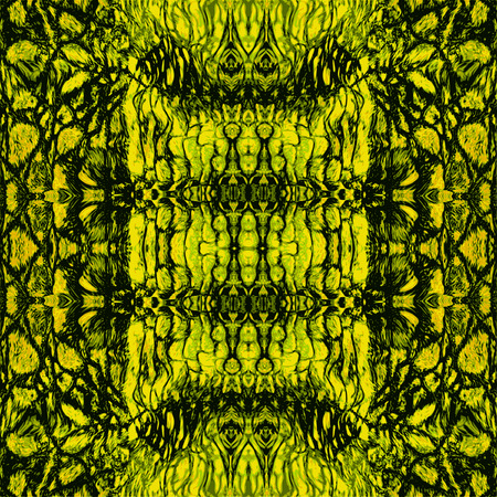 reptile: Abstract green, black and yellow striped pattern with stylized reptile Scalloped structure