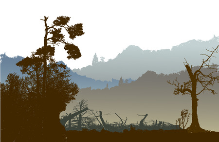 alp: Nostalgic Panoramic landscape with mountains silhouettes of trees and plants