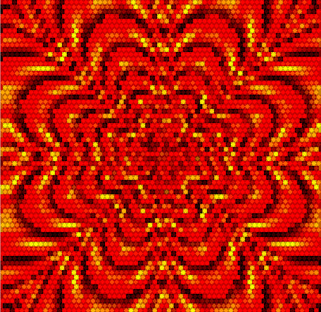 rippling: Abstract rippling red, gold and black mosaic pattern resembling stylized flower Illustration