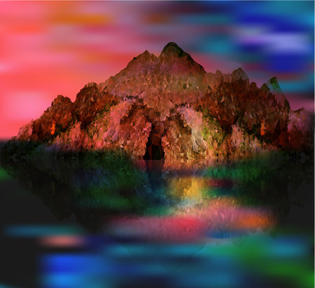 reflecting: Abstract surreal fantasy landscape with mountains reflecting in the water
