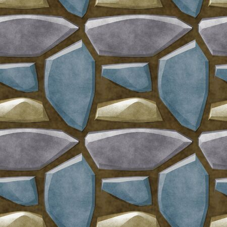 road paving: Seamless relief floor pattern with gold, blue and gray stones sharp polygonal Stock Photo