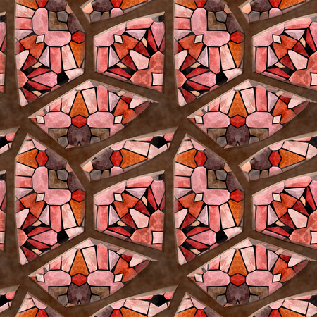 white stones: Abstract seamless floor mosaic pattern of pink, red and white stones