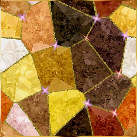 gold brown: Abstract gold, brown, red and white pattern of crystals and polygons with light reflections