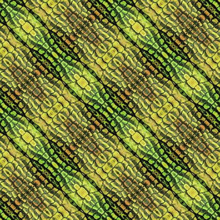scalloped: Abstract seamless striped pattern with gold, green and brown Scalloped structure reminiscent of snake skin Stock Photo