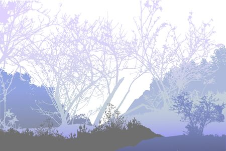 glacial: Panoramic winter forest landscape with silhouettes of frozen plants and trees Illustration