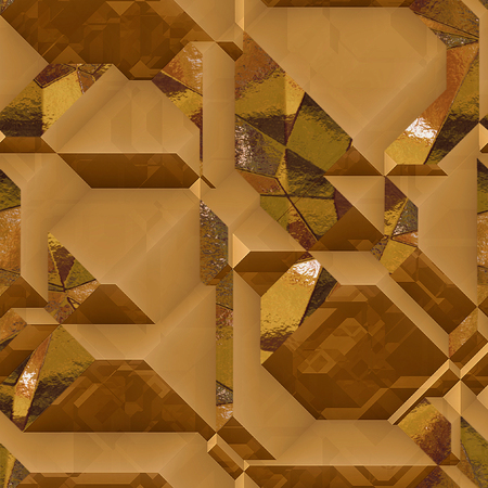 facets: Abstract generated 3d metal background of blocks with gold shiny FACETS