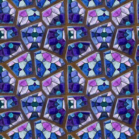 white stones: Abstract seamless mosaic floor relief pattern of blue, pink and white stones on a brown background