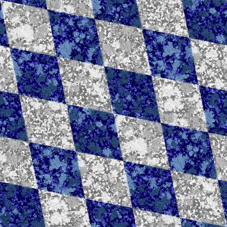 paving stones: Abstract seamless blue and white marbled pattern of beveled squares Stock Photo