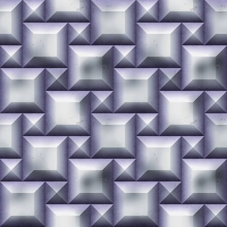 beveled: Seamless relief 3D pattern of silver squares with beveled edges and scratches