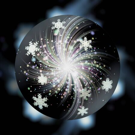magic ball: Black magic ball with snowflakes, glowing fireworks and stars