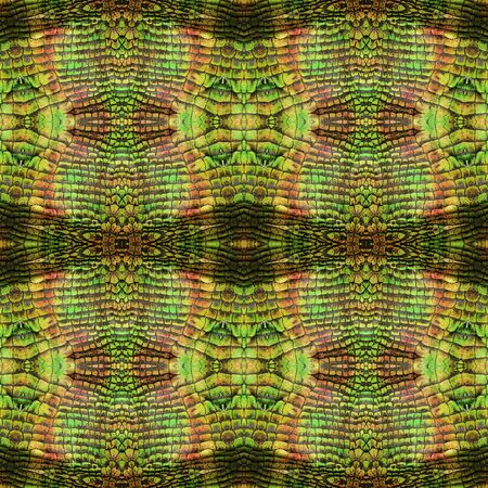 reptile skin: Abstract seamless wavy pattern of stylized reptile skin with brown, green, orange and gold scales