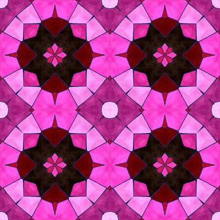 decorative patterns: Abstract seamless pink and red tiled mosaic pattern with stylized flowers