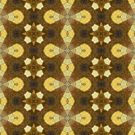 gold brown: Abstract seamless tiled floor gold, brown and black mosaic pattern