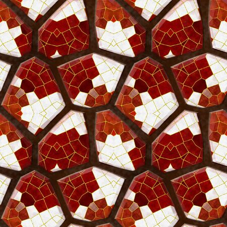 white stones: Abstract seamless mosaic floor relief pattern of red and white stones on a brown background Stock Photo