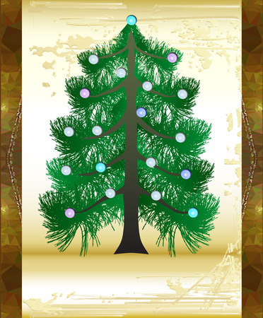 old parchment: Christmas vintage card with old parchment scratched and glowing Christmas tree Illustration