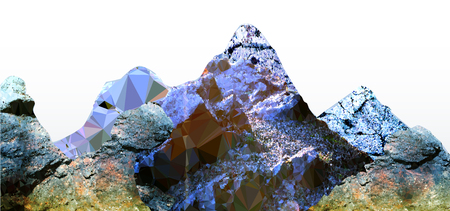 peaks: Panoramic mountain landscape of polygons with peaks and frozen cracked rocks