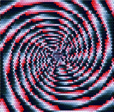 red point: Abstract lighting rotating red and silver object of concentric spirals converging to one point