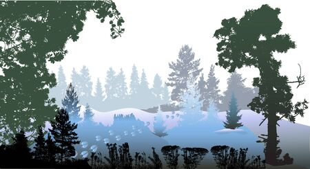winter tree: Panoramic winter forest landscape with silhouettes of trees, plants and reindeer footprints